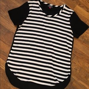 Vince Camuto Black & White Striped Top